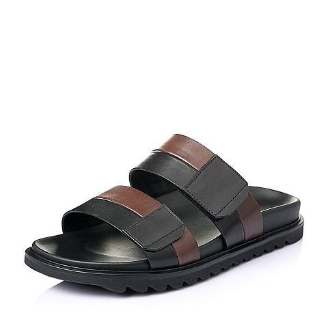 Teenmix/天美意夏季黑/啡色牛皮革男皮鞋11822BT6