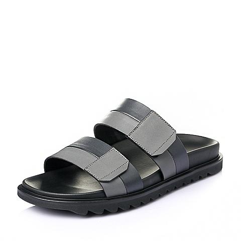Teenmix/天美意夏季灰/蓝色牛皮革男皮鞋11822BT6