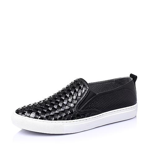 Teenmix/天美意夏季黑色牛皮时尚舒适活力男休闲鞋F1692BM6