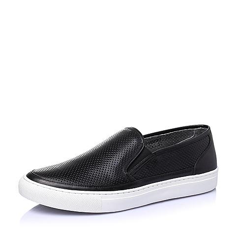 Teenmix/天美意夏季黑色牛皮时尚舒适活力平跟男休闲鞋F1636BM6
