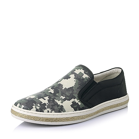 Teenmix/天美意2016夏季黑色牛皮革男休闲鞋AXS01BM6