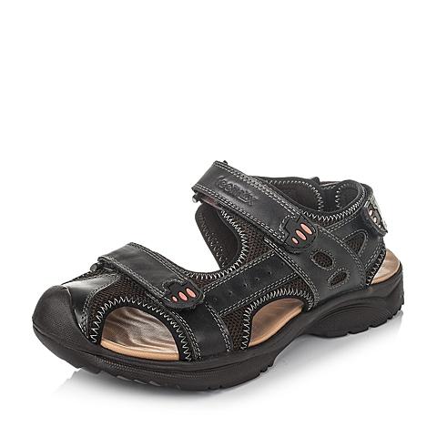 Teenmix/天美意夏季黑色磨砂牛皮男凉鞋99051BL6