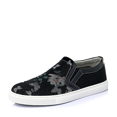 Teenmix/天美意夏季黑色滴胶羊绒皮革男休闲鞋Q6113BM6