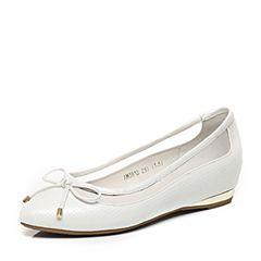 Teenmix/天美意春季专柜同款白色羊皮/牛皮/网布浅口女单鞋AM381AQ6