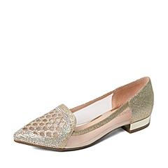 Teenmix/天美意春季专柜同款金色闪光布/网布浅口女单鞋AM291AQ6