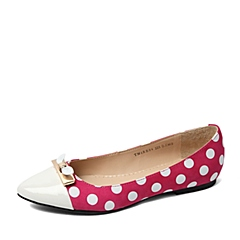Teenmix/天美意春季专柜同款玫红/白色磨砂牛皮浅口女单鞋6RR04AQ6
