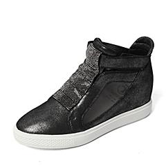 Teenmix/天美意春季专柜同款银黑/黑色羊绒皮革女靴6QJ45AD6