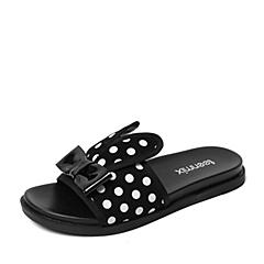 Teenmix/天美意夏季专柜同款黑色/白色羊绒皮革/漆皮牛皮革女拖鞋AM78DBT6