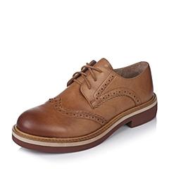 Teenmix/天美意秋季专柜同款棕色牛皮革女皮鞋6ZN29CM6