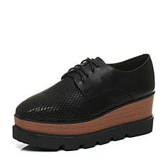 Teenmix/天美意秋季专柜同款黑色打蜡牛皮革女皮鞋6D928CM6