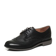 Teenmix/天美意秋季专柜同款黑色打蜡牛皮革女皮鞋6RY35CM6
