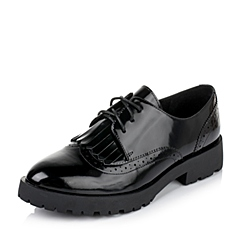 Teenmix/天美意秋季专柜同款黑色光面小牛皮革女皮鞋6WW25CM6