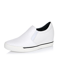 Teenmix/天美意秋专柜同款白色牛皮革/PU女单鞋6M122CM6
