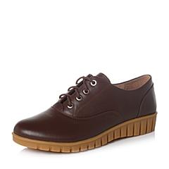 Teenmix/天美意秋专柜同款啡色牛皮革女单鞋6ZS24CM6