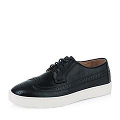 Teenmix/天美意秋季专柜同款黑色牛皮革女皮鞋6P521CM6