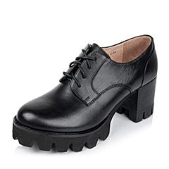 Teenmix/天美意秋专柜同款黑色牛皮革女单鞋6N420CM6