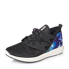 Teenmix/天美意秋季专柜同款黑/红兰色兰亮片布/牛皮女单鞋6G428CM6