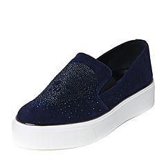 Teenmix/天美意秋季专柜同款深兰色羊绒皮女单鞋6I727CM6