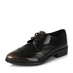 Teenmix/天美意秋季专柜同款金色光面小牛皮革女皮鞋6M520CM6
