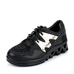 Teenmix/天美意秋专柜同款黑色PU/牛皮/纺织品女单鞋6M923CM6