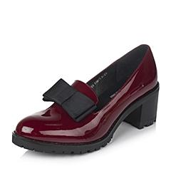 Teenmix/天美意秋季专柜同款红色漆皮牛皮革女皮鞋6N723CQ6