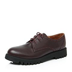 Teenmix/天美意秋酒红色牛皮革女单鞋GJ188CM6