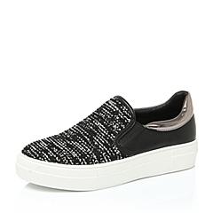 Teenmix/天美意秋黑/白色女单鞋388-3CM6
