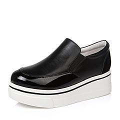 Teenmix/天美意秋黑色牛皮革女单鞋16A59CM6