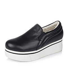 Teenmix/天美意秋季黑色牛皮女单鞋16A51CM6