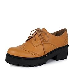 Teenmix/天美意秋土黄色牛皮革女皮鞋11819CM6