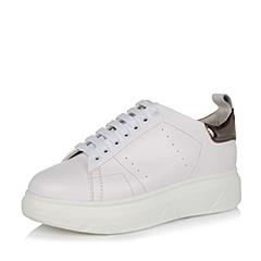 Teenmix/天美意秋季专柜同款白色牛皮革/人造革女单鞋AN271CM6