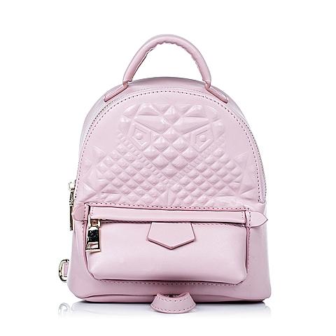 Teenmix/天美意秋季粉色细纹人造革女包11726CX6