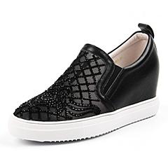 Teenmix/天美意秋季专柜同款黑色牛皮/织物女单鞋AN581CM6