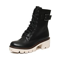 Teenmix/天美意冬季专柜同款黑色牛皮女中靴6Q861DZ6