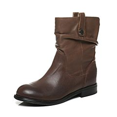 Teenmix/天美意冬季专柜同款灰色牛皮女中靴6S260DZ6