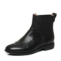 Teenmix/天美意冬季专柜同款黑色牛皮女靴6D443DD6