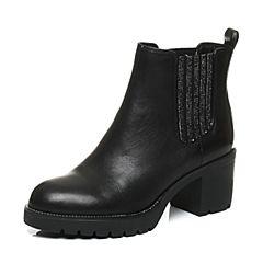 Teenmix/天美意冬季专柜同款黑色牛皮女靴6D542DD6