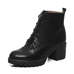 Teenmix/天美意冬季专柜同款黑色牛皮女靴6D543DD6