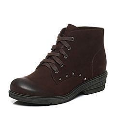 Teenmix/天美意冬季专柜同款啡色牛皮女靴6JQ51DD6