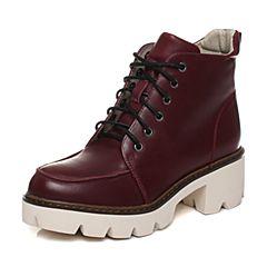 Teenmix/天美意冬季专柜同款酒红色牛皮女短靴6Q841DD6