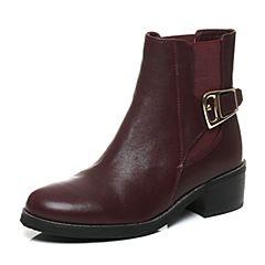 Teenmix/天美意冬季专柜同款红色牛皮女靴6S141DD6