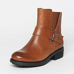 Teenmix/天美意冬季专柜同款棕色打蜡牛皮女短靴6S940DD6