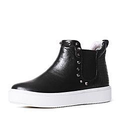 Teenmix/天美意冬季专柜同款黑色小牛皮女短靴6T141DD6