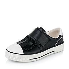 Teenmix/天美意秋季专柜同款黑/白色牛皮女单鞋6P621CM6