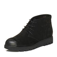 Teenmix/天美意冬季专柜同款黑色磨砂牛皮简约日韩风女休闲靴AN871DD6