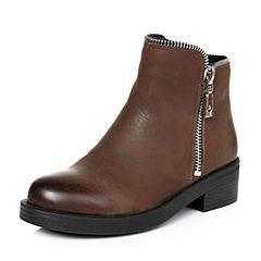 Teenmix/天美意冬季专柜同款啡色牛皮女短靴AO571DD6