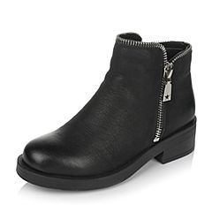 Teenmix/天美意冬专柜同款黑色磨砂牛皮女短靴(绒里)AO571DD6