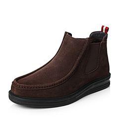 Teenmix/天美意冬专柜同款啡色剖层牛皮舒适平跟男休闲靴男靴(绒里)1ZK01DD6