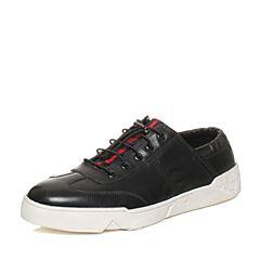 Teenmix/天美意秋专柜同款黑色软面牛皮舒适平跟男休闲鞋BCB04CM6