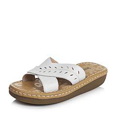 Teenmix/天美意夏季专柜同款白色牛皮女拖鞋AM75TBT6